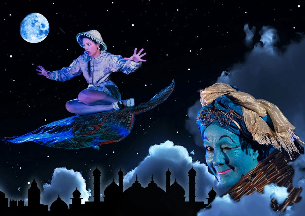 Aladdin Miracle Theatre Christmas Pantomime Falmouth Winter 2018 Genie Magic Carpet Starry Sky