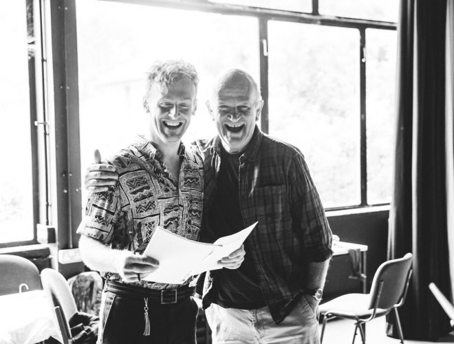 Ben Kernow and Bill Scott in rehearsals for A Perfect World by Miracle Theatre May 2019