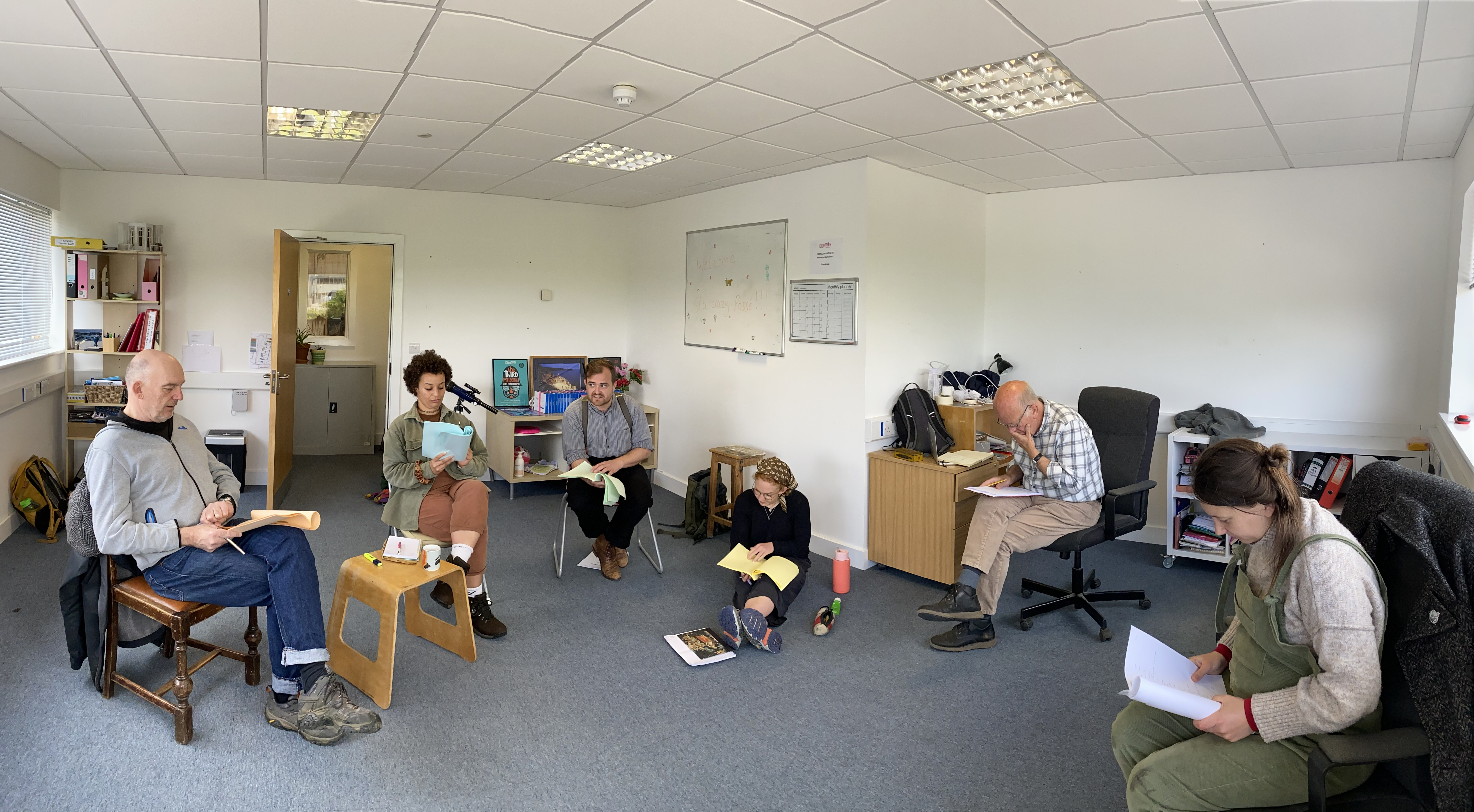 Starcrazy rehearsals in upstairs meeting space